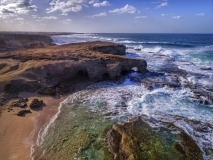 The Cove on a stormy day. (north-east tip of Barbados). Aerial view.