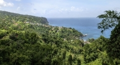 Landscape of Atlantic coastal line near village of Penville, Dominica, West Indies.